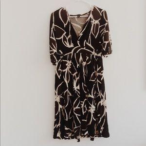 banana republic brown/black floral dress